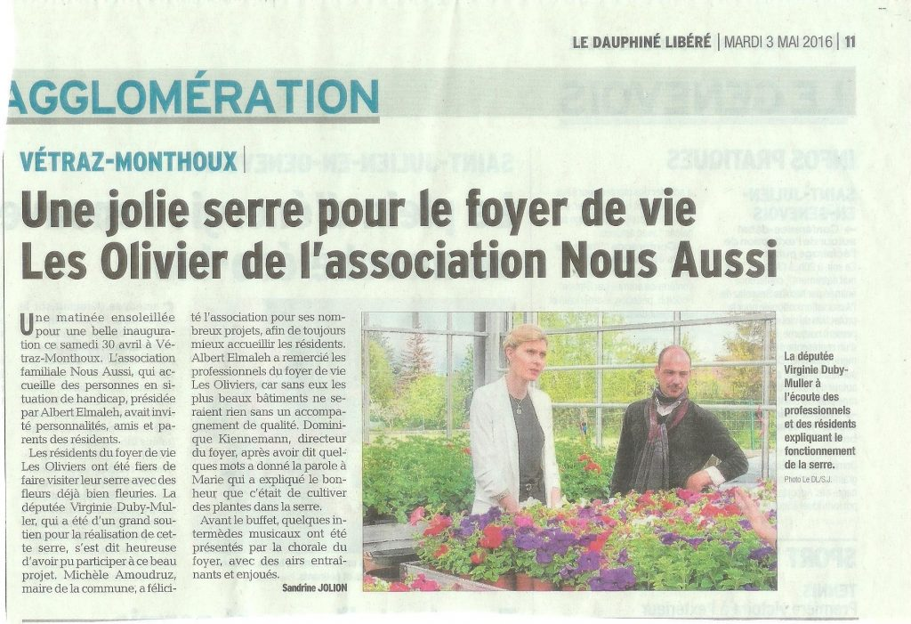 2016-04-30 Inauguration Serre Article Dauphiné